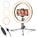 "LED Ring Light 10"" with Tripod Stand & Phone Holder for Live Streaming & YouTube Video"