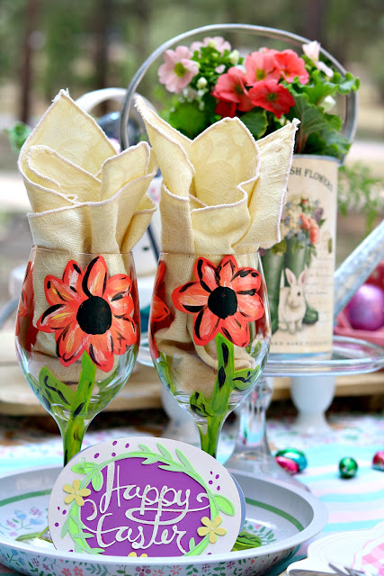 handpainted, glasses, outdoors, picnic, tablescape, decor, Easter, athomewithjemma.com