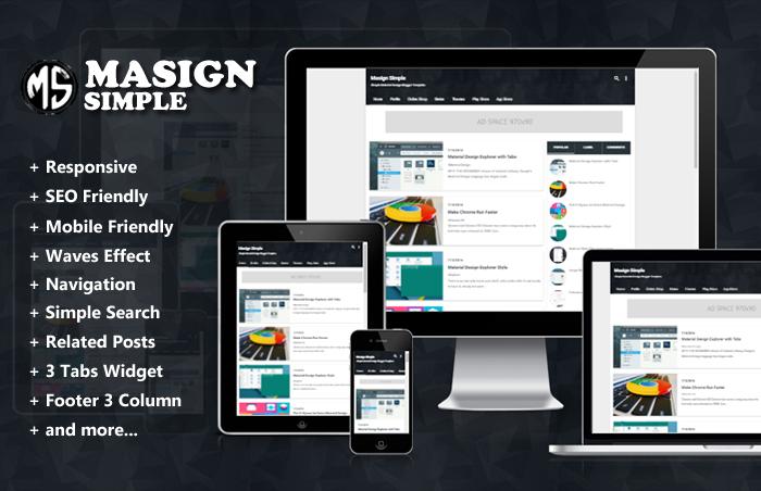 Masign Simple Responsive Material Design Blogger Template