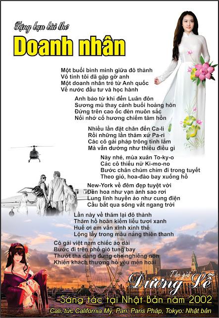 ài thơ Doanh nhân của tác giả Dương Lễ tại Nhật Bản năm 2002 - thơ tình dương lễ, bài thơ doanh nhân