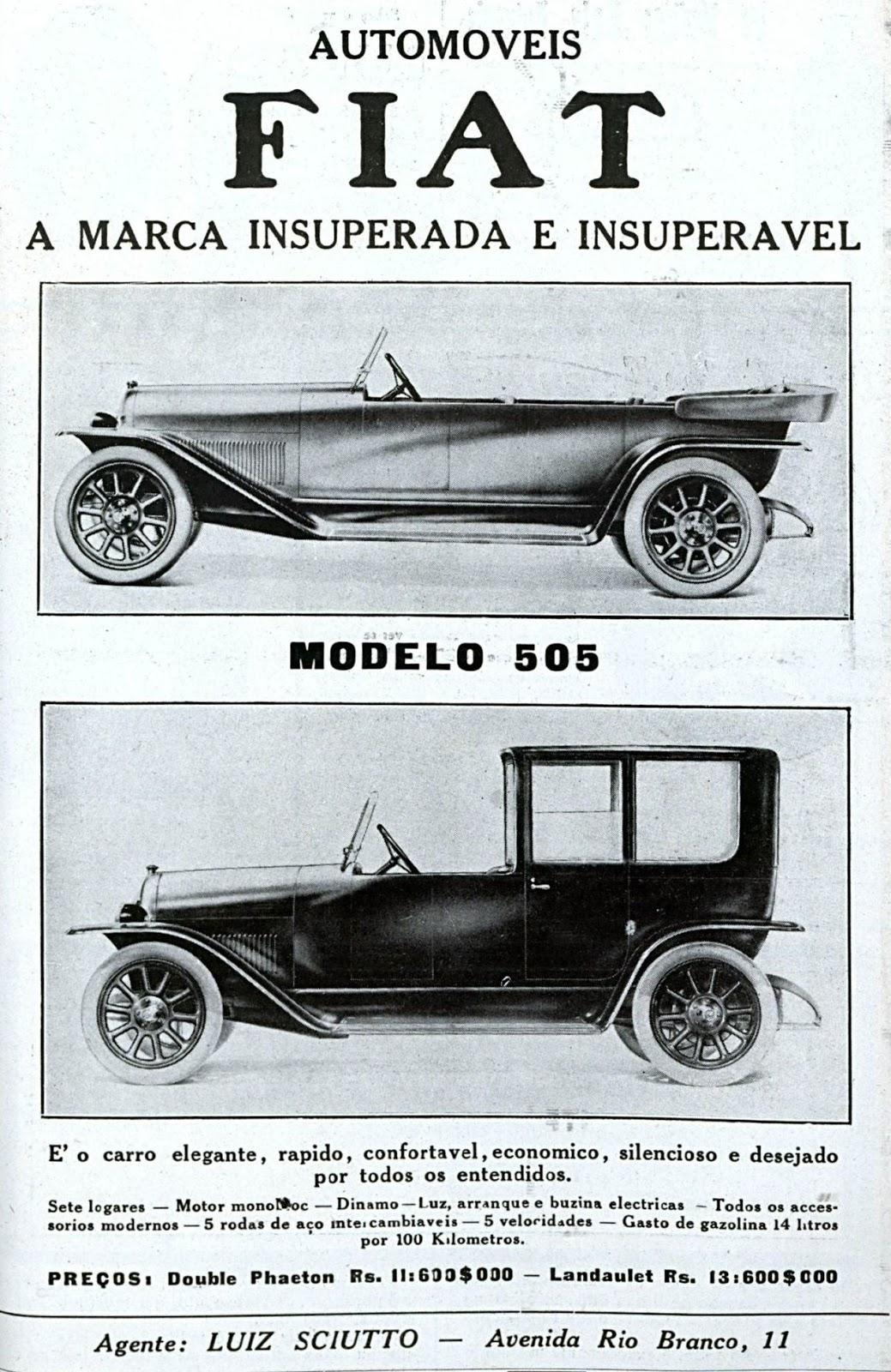 Propaganda antiga dos automóveis da Fiat em 1919