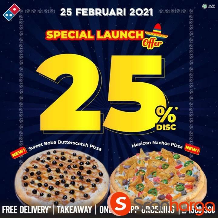 DOMINO'S PIZZA Promo Mexican Nachos & Sweet Boba Butterscoth DISKON 25%