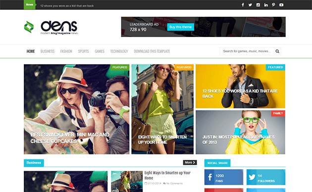 Dens is a clean, stylish magazine responsive blogger template that allows you to focus on content including technology, games, travels, films, blogger journals, etc.