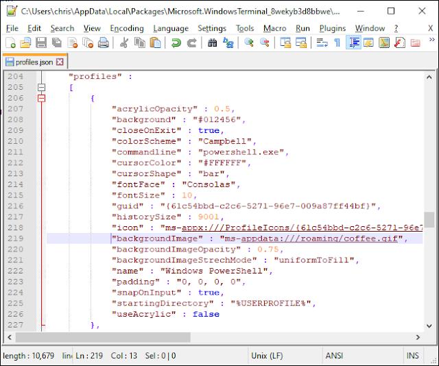 وضع صورة خلفية في ملف JSON الخاص بـ Windows Terminal