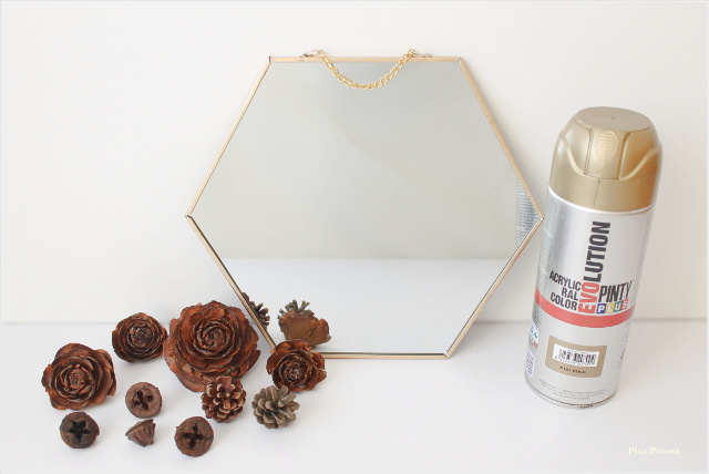 espejo-decorado-diy-frutos-otoño-pintura-spray-materiales