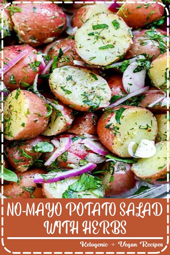 mayo potato salad with fresh herbs and an easy olive oil dressing is the perfect side dish NO-MAYO POTATO SALAD WITH HERBS