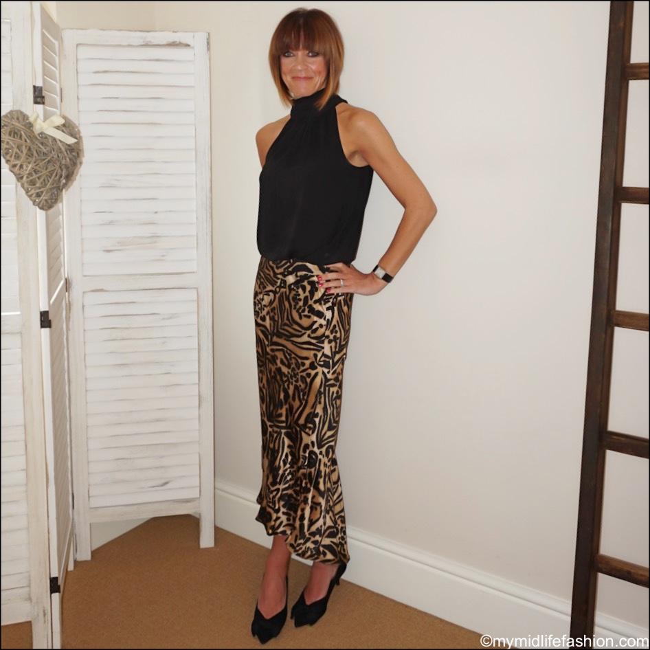 my midlife fashion, j crew silk halter neck top, Raey animal print asymmetrical silk slip, Zara court shoes