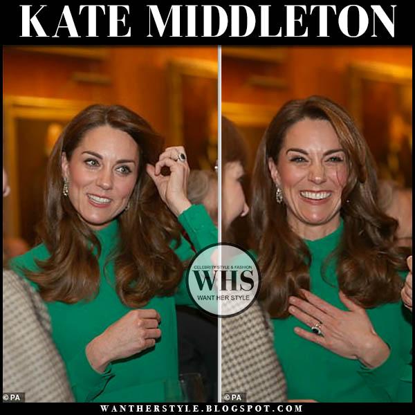 Kate Middleton in green high neck midi dress alexander mcqueen. Duchess of Cambridge december 3 reception