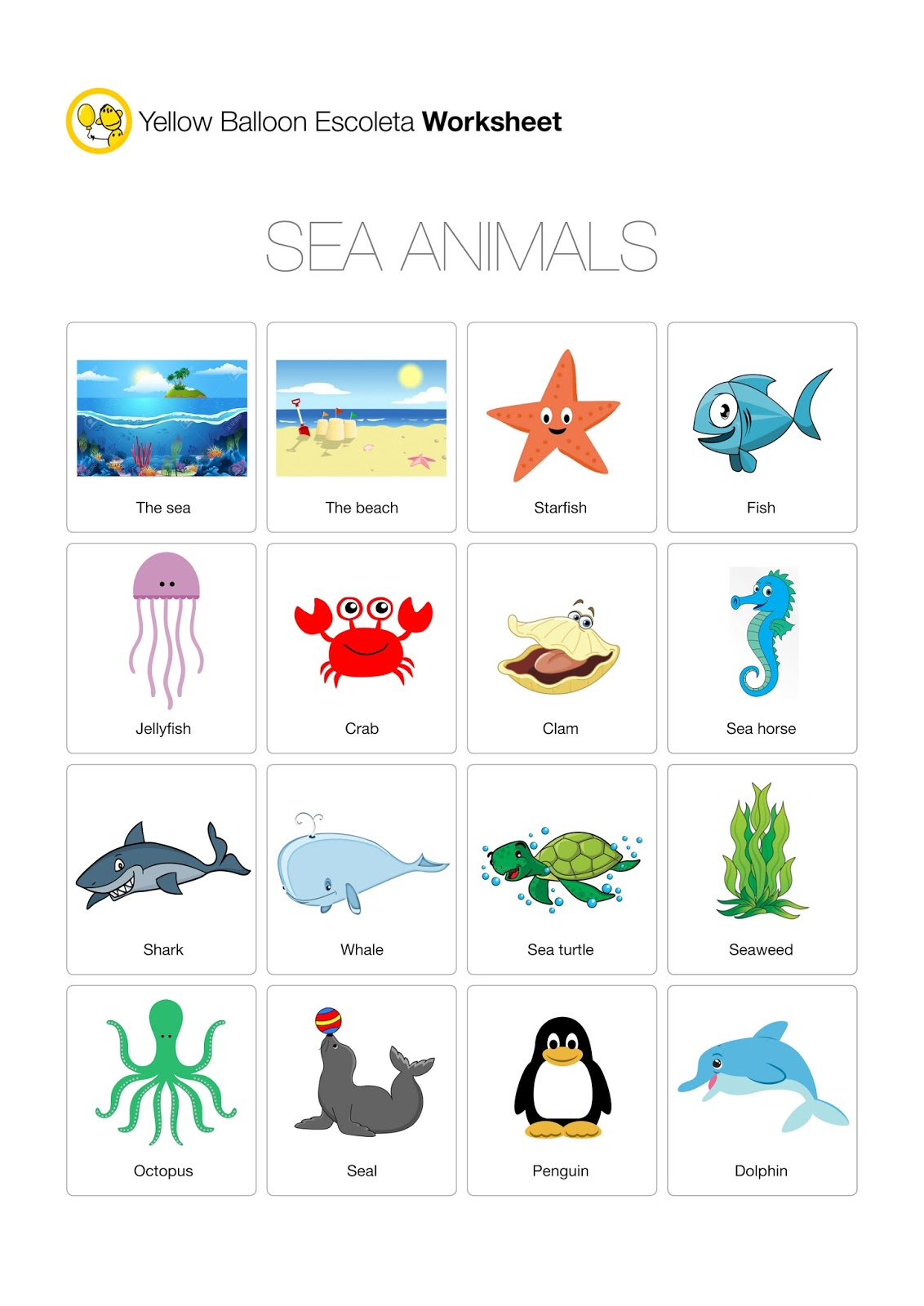Yellow Balloon Escoleta Sea Animals Worksheet