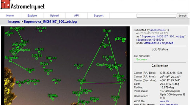 Astrometry,net indicates the supernova location is in the cropped image (Source: Palmia Observatory)