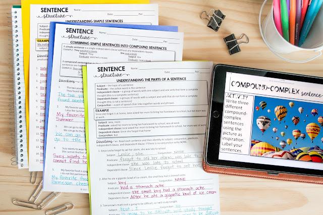 Sentence structure teaching ideas