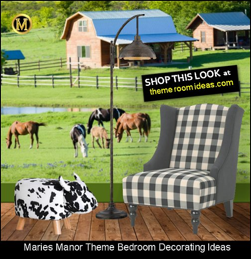 farm bedroom decor cow print decor farmyard decorating plaid chair farm mural   cow ottoman