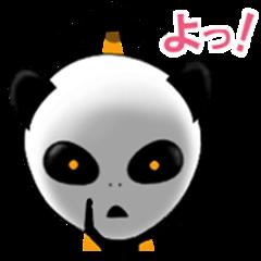 Alien sticker of panda.