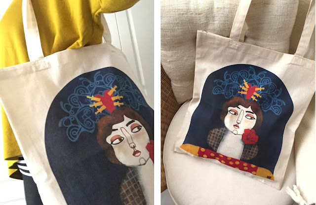Bolsa de tela ilustrada por Raquel Feria para Rachel´s Puzzle Things - Illustrated totebag by Rachel´s Puzzle Things