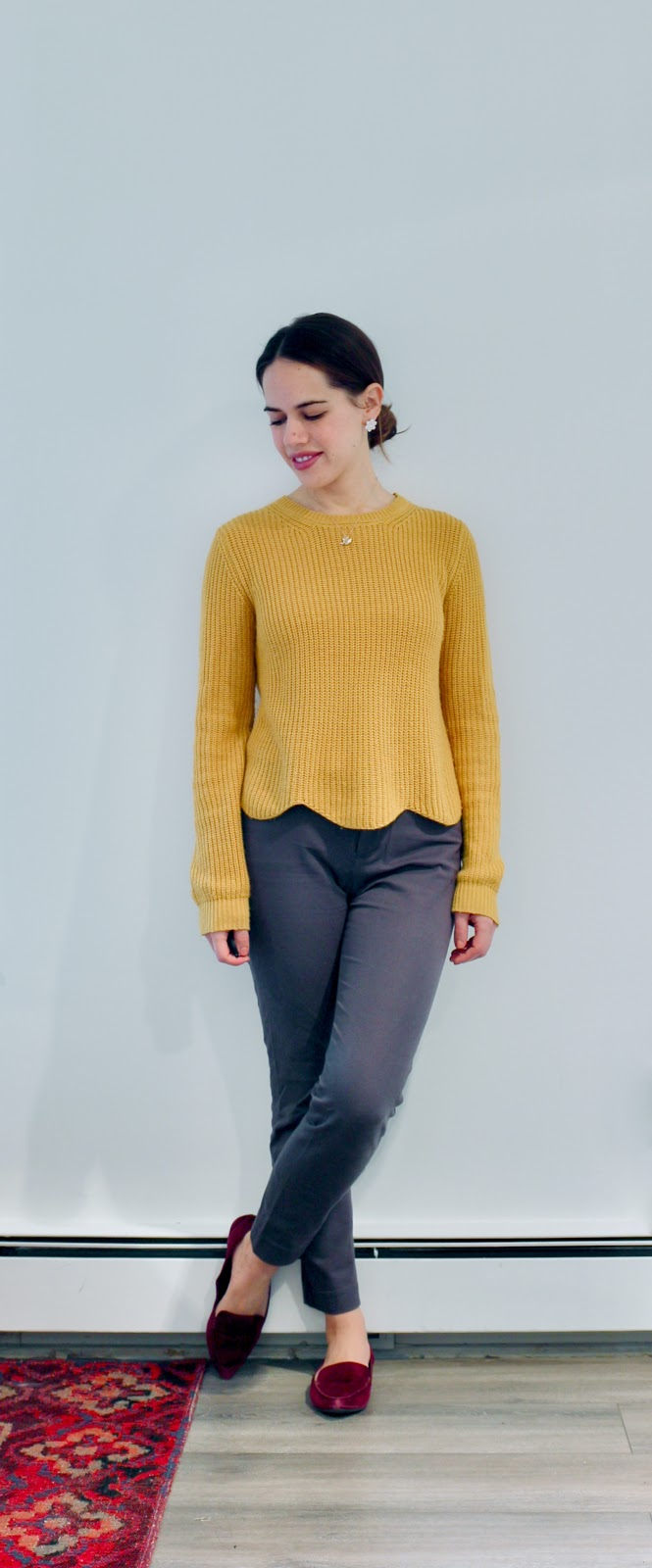 Jules in Flats - Mustard Yellow Scalloped Sweater with Grey Ankle Pants (Business Casual Winter Workwear on a Budget)