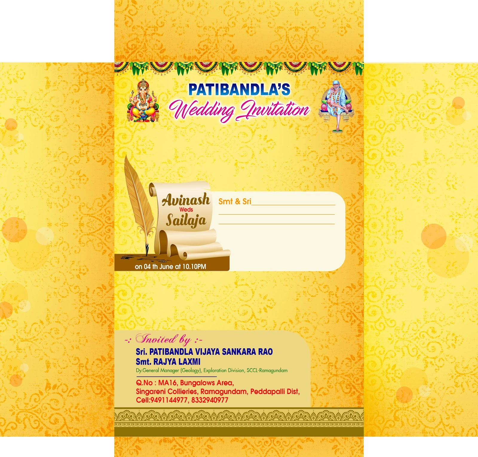 Wedding invitation card psd template free downloads for photoshop hindu wedding invitation cover design psd vector template download link stopboris Image collections