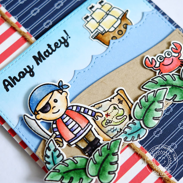 Sunny Studio Stamps: Pirate Pals Nautical Themed Pirate Card by Lexa Levana