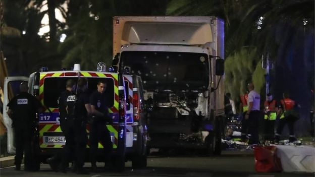 Police have now sealed off the area, checking the lorry that hit the crowds in Nice, France.
