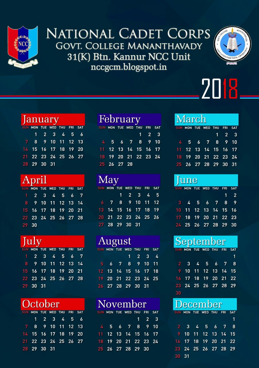 National Cadet Corps Ncc Gcm Calendar 2018