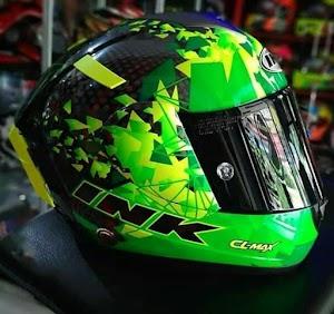 CL Max Seri 6 Green Fluo Lengkap Aksesoris | Helm Makassar