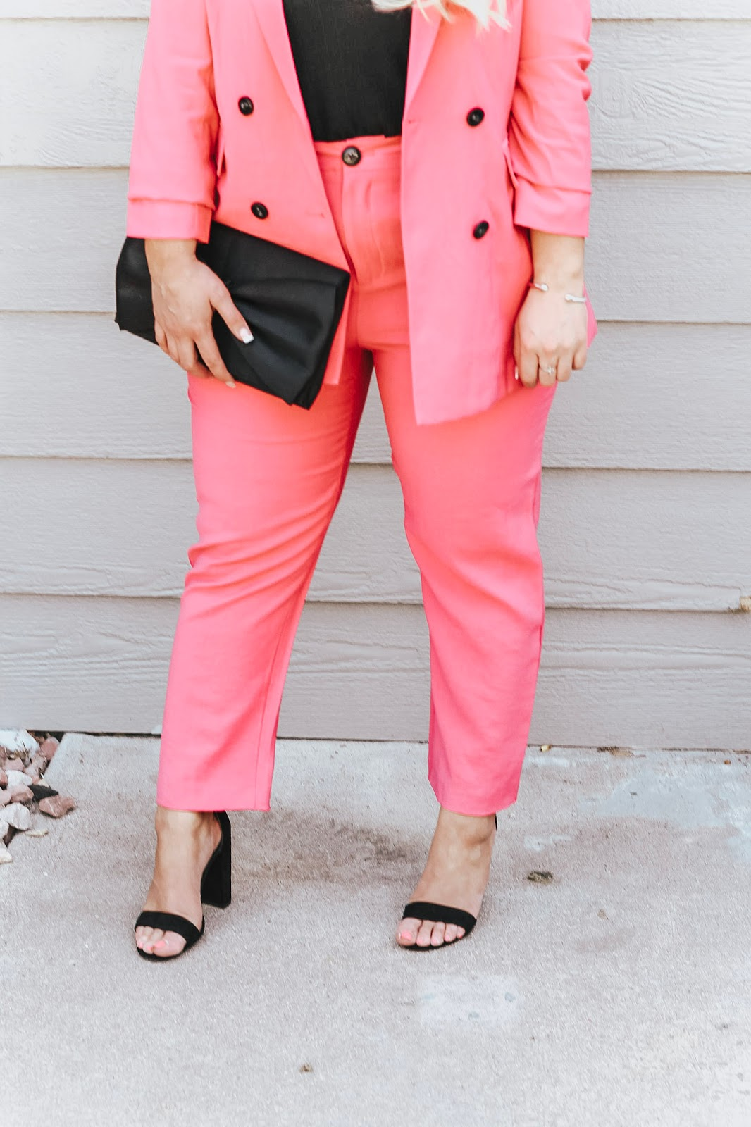 The Perfect Pink Suit styled by popular Denver fashion blogger, Delayna Denaye