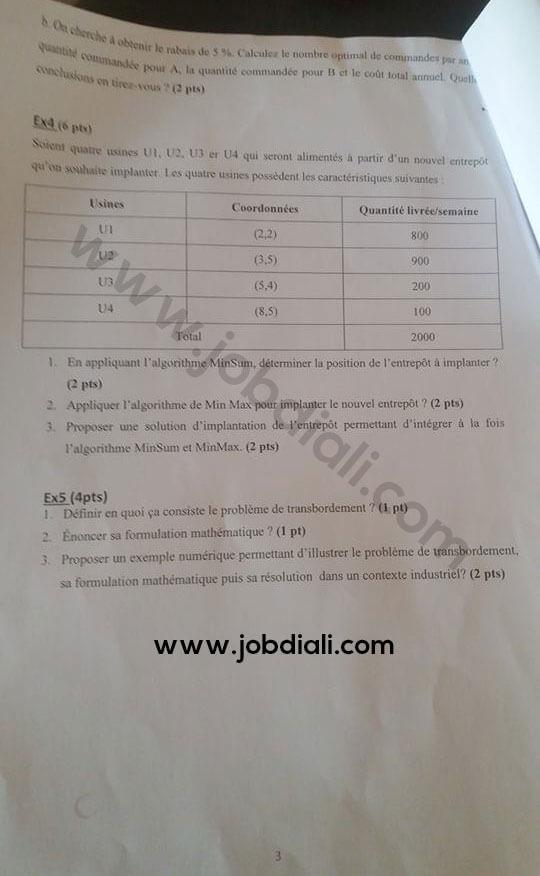 Exemple Concours de Recrutement d'Ingénieurs d'Etat de 1er grade 2018 - Ministère de l'Education Nationale