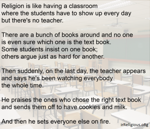 Religion is like a classroom funny joke quote picture meme
