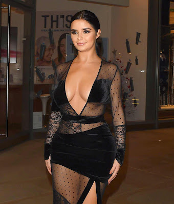 Demi Rose Hot Show In a See Thru Dress at Madison Launch Party in London