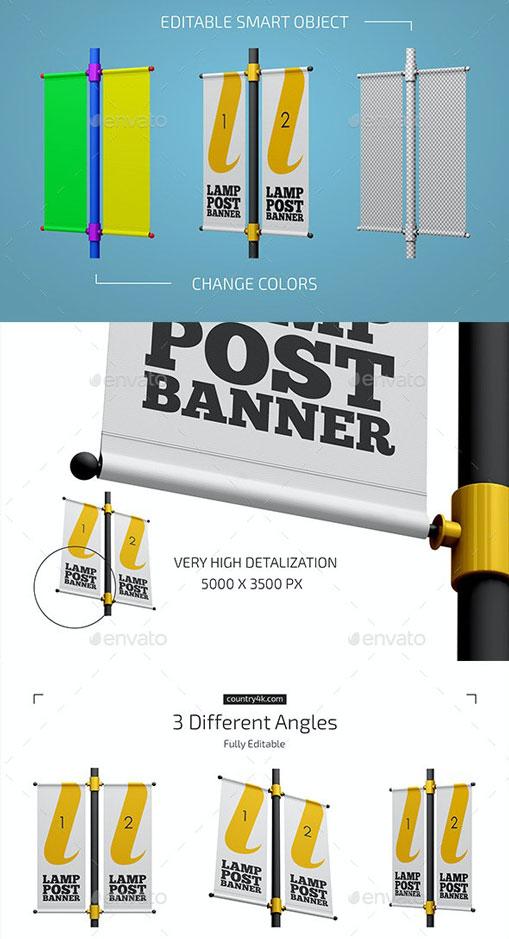 Graphicriver Lamp Post Banner Mockup Set 27825437