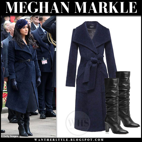 Meghan Markle In Navy Wrap Coat And Black Boots In London