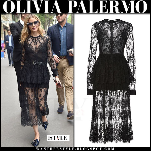 Olivia Palermo in black sheer lace elie saab dress and black flats jimmy choo gabby what she wore paris fashion week
