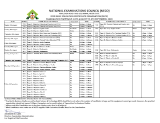 2020 NECO BECE Time-Table [24th Aug - 4th Sept] | Unity Schools