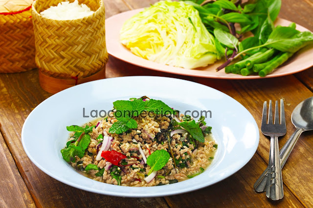 Lao Ground Pork Salad - lap moo