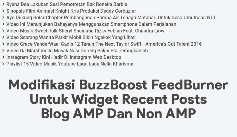 Modifikasi BuzzBoost FeedBurner Untuk Widget Recent Posts Blog AMP Dan Non AMP