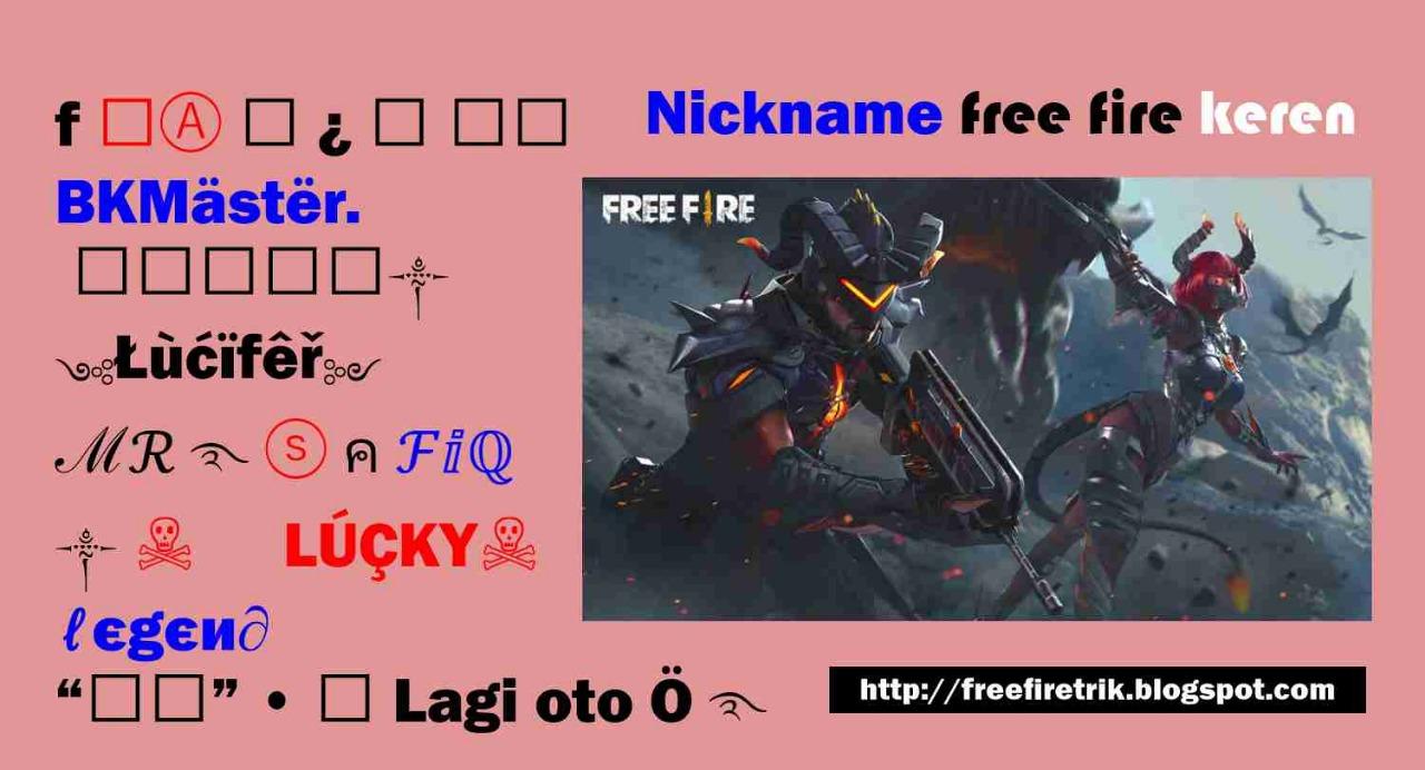 Nickname Free Fire Keren Terbaru 2021