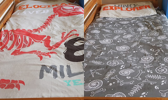 Collage showing both sides of NatGeo Recycled Reversible Bedding with Raptor skeleton and fossils