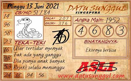 Prediksi Datu Sunggul SGP Minggu 13 Juni 2021