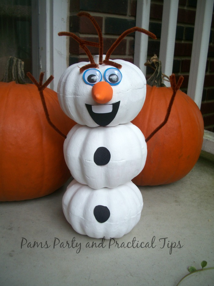 Olaf made from craft pumpkins for Halloween