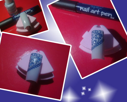 nail art con pen 05 blue e smalto crystalliced essence 04