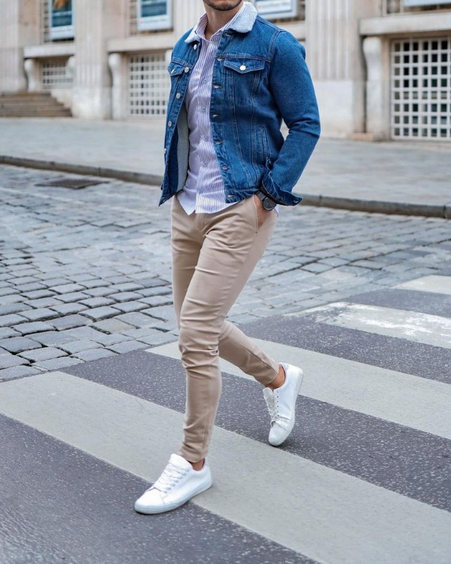 Man in chinos, shirts and denim jacket.