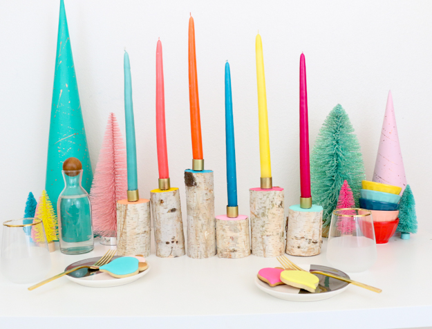 DIY Colorful Birch Wood Candle Holders - Holiday table setting ideas - DIY Craft ideas -holiday decorations - winter decorations - color and wood crafts