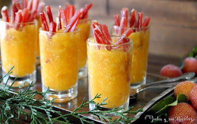 Vasitos salados de caqui persimón y jamón