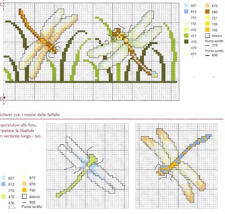 motivo per punto croce tenda con le ninfee-schema punto croce free con libellule e ninfee