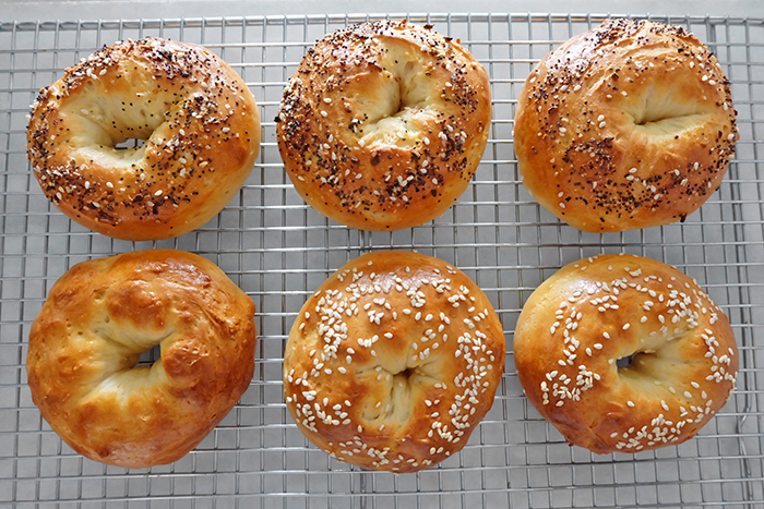 bagels on cooling rack viewed from above