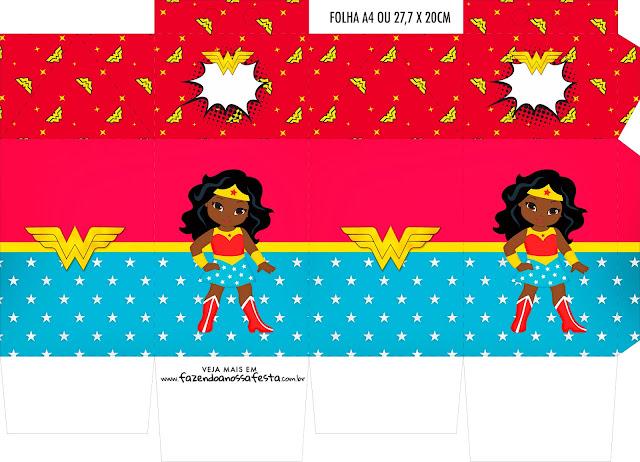 Wonder Woman Afro Free Printable Boxes.