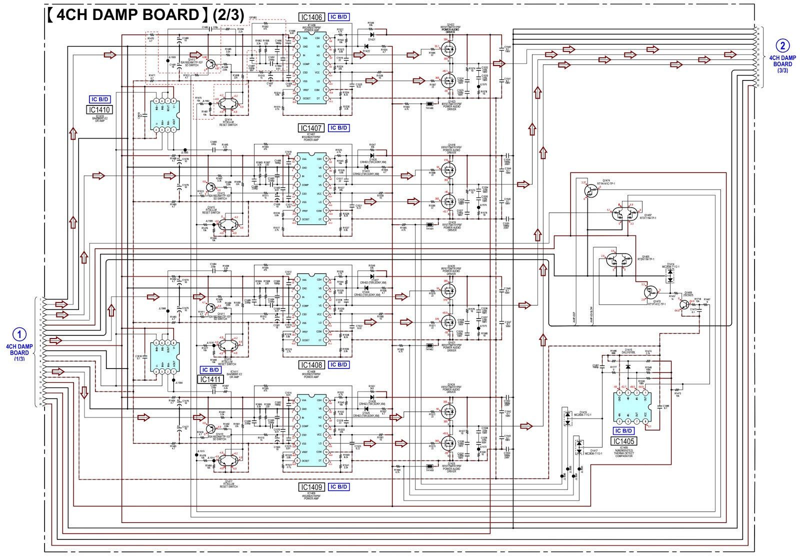 Sony HCD GPX5G – 4-ch D-Amp circuit diagram, how to take