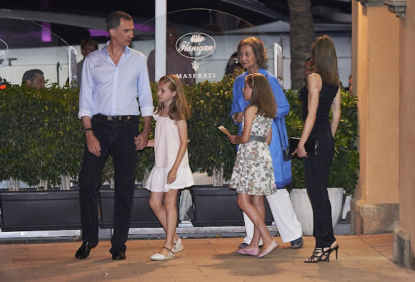 "King Felipe, Queen Letizia, Princess Leonor, Infanta Sofia, Former King Juan Carlos and Queen Sofia, Infanta Elena, Felipe Juan Froilan and Victoria Federica at a dinner at ""Flanigan"" restaurant in Palma de Mallorca"