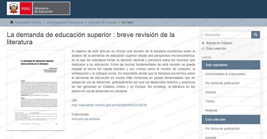 LA DEMANDA DE EDUCACIÓN SUPERIOR: Breve revisión de la literatura (.PDF)