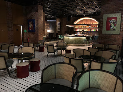 Hotel bar, indoor seating area