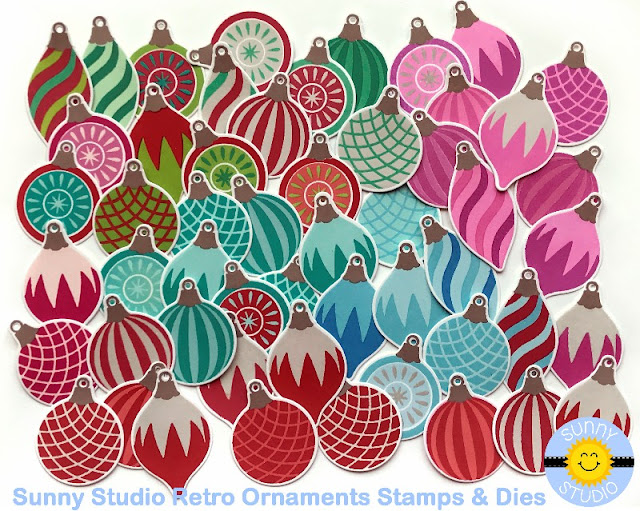 Sunny Studio Vintage Glass Ornament Examples using Retro Ornament Stamps
